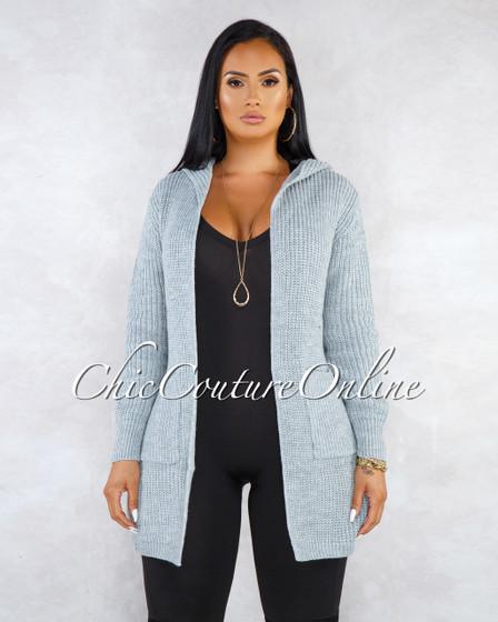 Adisa Grey Lace-Up Back Knit Cardigan