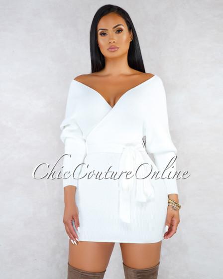 Shava Off-White Wrap Knit Sweater Dress