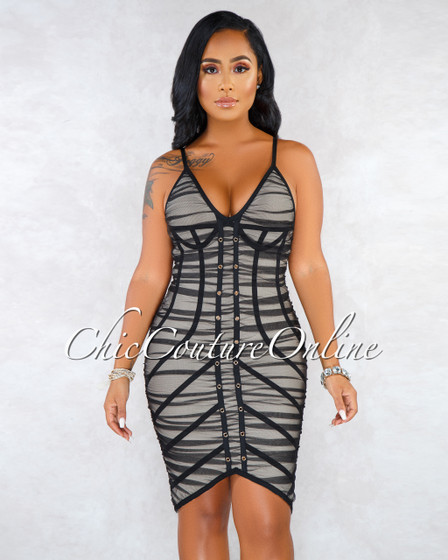 Starry Black Mesh Nude Bandage Dress