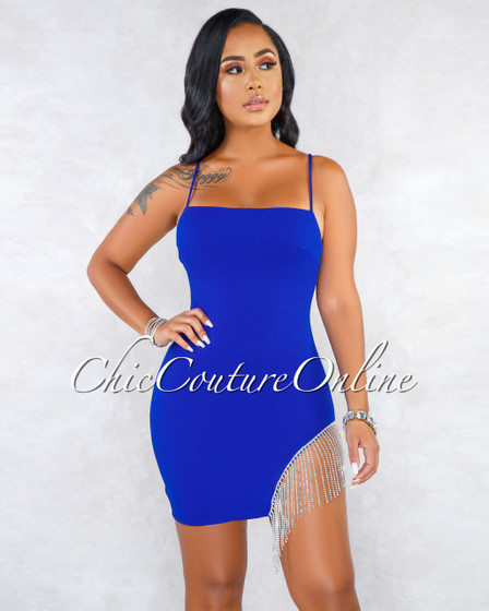 Santiago Royal-Blue Fringe Rhinestones Sides Mini Dress
