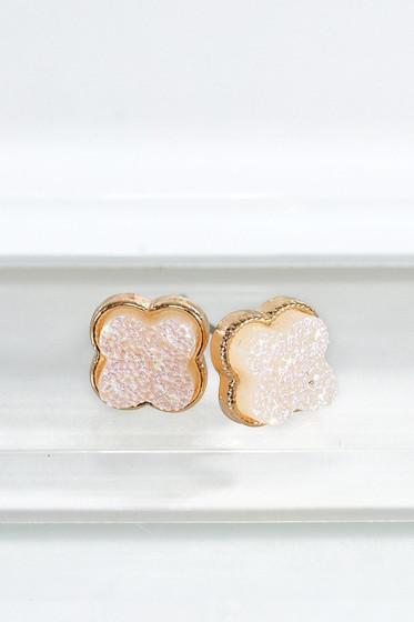 Stilla Clover Druzy Post Earrings