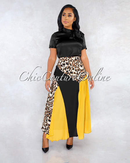 Dorian Black Mustard Leopard Print Pleated Midi Skirt