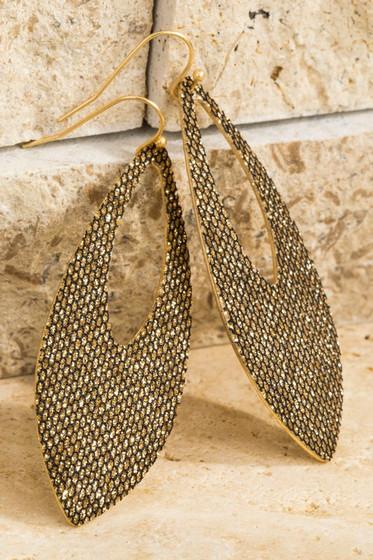 Glitz Black & Gold Glitter Oval Earrings