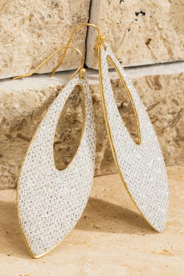 Glitz Silver & Gold Glitter Oval Earrings