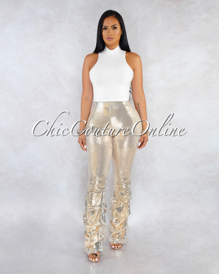 Adara Gold Sequins Ruched Legs Pants