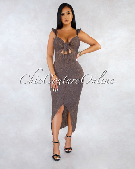 Carena Brown Gold Shimmer Front Tie Knit  Maxi Dress