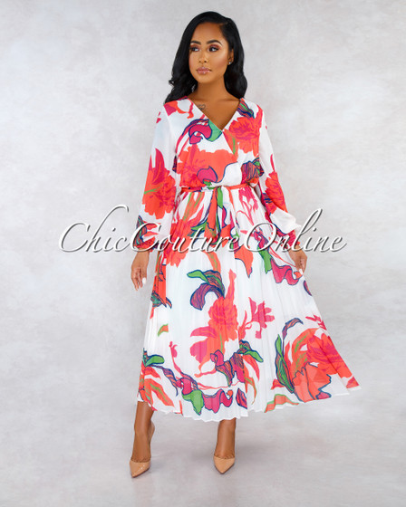Yola Ivory Fuchsia Floral Print Self Tie Belt Midi Dress