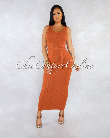 Yeta Camel Front Buttons Self-Tie Ribbed Maxi Dress