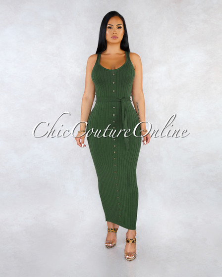 Yeta Military Green Front Buttons Self-Tie Ribbed Maxi Dress