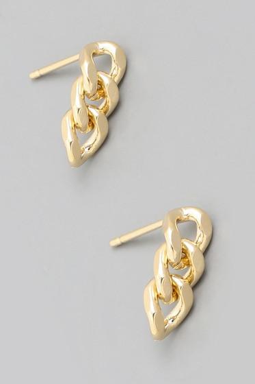 Cynn Gold Mini Chain Stud Earrings