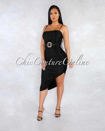 Yely Black Ruched Gold Belt Accent Midi Dress
