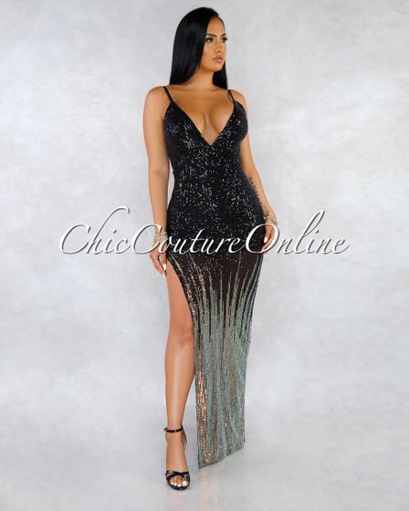 Yaritza Black Sequins Iridescent Hem Low Back Maxi Dress