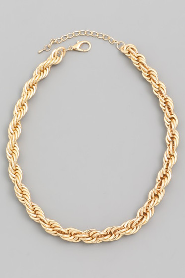 Ranna Gold Metal Rope Chain Necklace
