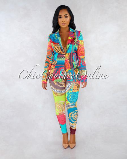 Aliana Multi-Color Print Blazer Two Piece Set
