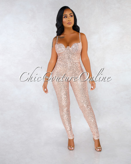Reisa Nude Rose Gold Sequins Padded Cups Jumpsuit