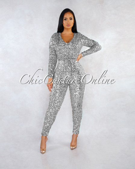 Bocelli Silver Sequins Long Sleeves Jumpsuit