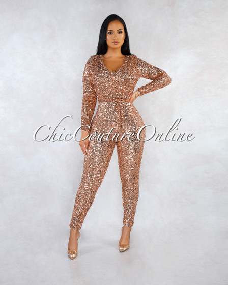 Bocelli Rose Gold Sequins Long Sleeves Jumpsuit