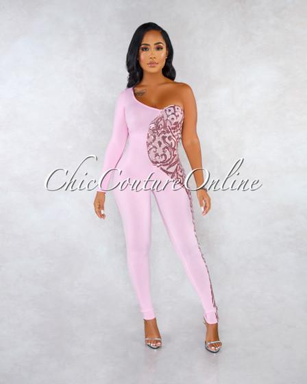 Tramina Pink Mesh Sequins Side Single Sleeve Jumpsuit