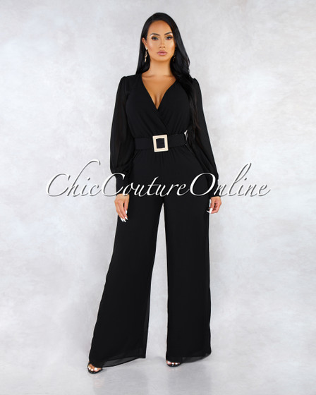 Beau Black Gold Accent Belt Jumpsuit