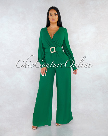 Beau Kelly Green Gold Accent Belt Jumpsuit