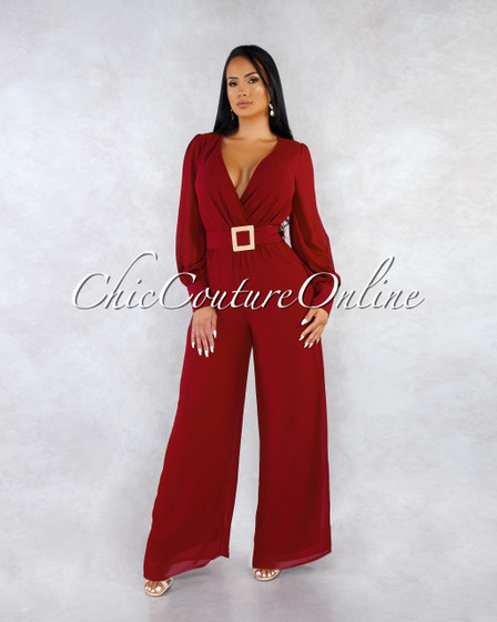 Beau Plum Gold Accent Belt Jumpsuit