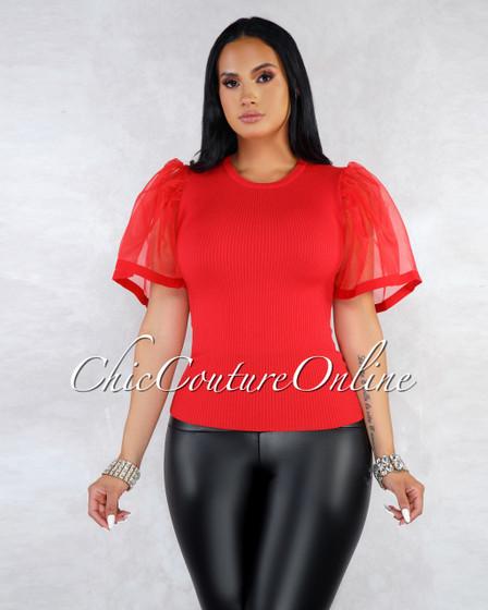 Santana Red Mesh Bell Sleeves Ribbed Top