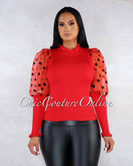 Eliana Red Tulle Polka Dots Sleeves Ribbed Top