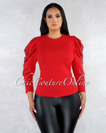 Deadly Red Rhinestones Embellishment Statement Sleeves Top