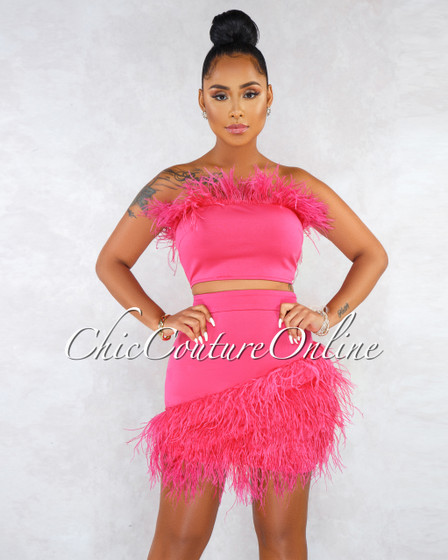 Lievana Fuchsia Feather Details Two Piece Skirt Set