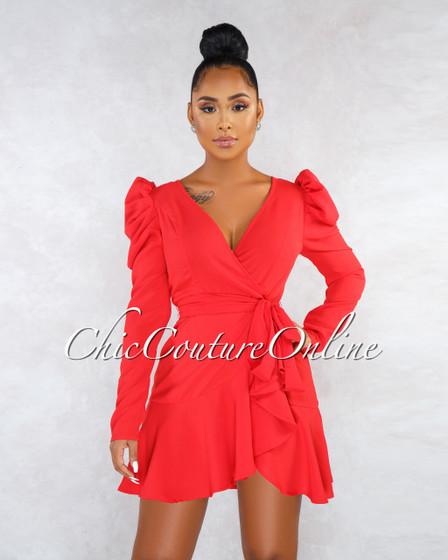 Sweet Red Puffy Self-Tie Belt Faux Wrap Dress