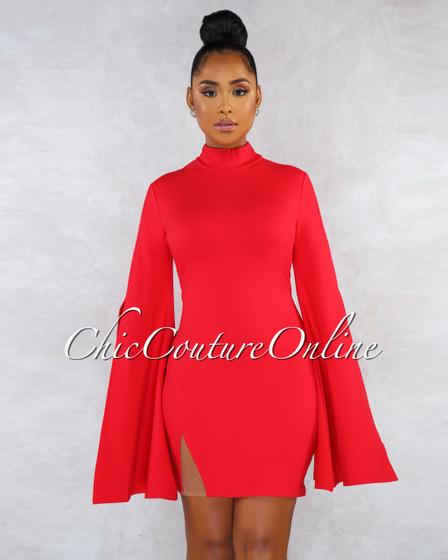 Adriel Red Statement Sleeves Side Slit Dress