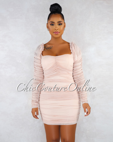 Piper Nude Mesh Ruched Long Sleeves Dress