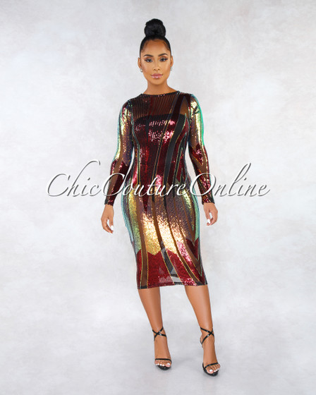 Vanguard Black Mesh Burgundy Iridescent Sequins Midi Dress