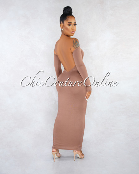 Madrina Cappuccino Long Sleeves Low Back Midi Dress