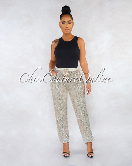 Laban Nude Silver Sequin Jogger Pants