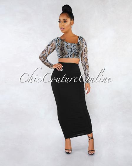 Marisel Snake Print Mesh Top Draped Skirt Two Piece Set