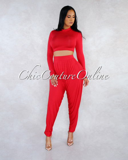 Malta Red Top Wide Legs Pants Two Piece Set