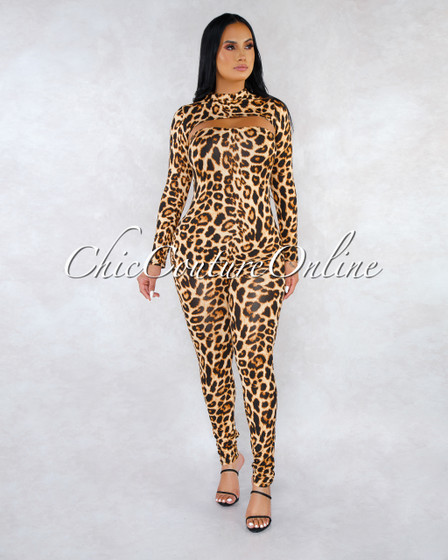 Rubia Leopard Print Mock Over-Top Jumpsuit Set