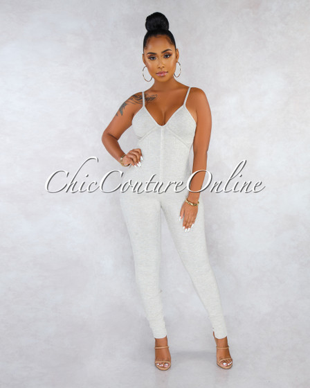 Tyla Nude Ribbed V-Neck Jumpsuit