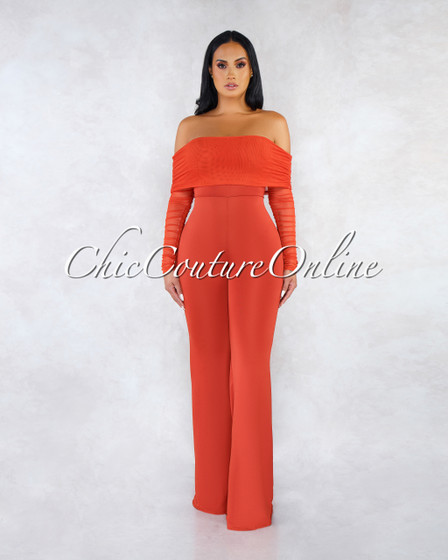 Ariel Tomato Strapless Mesh Ruched Sleeves Jumpsuit