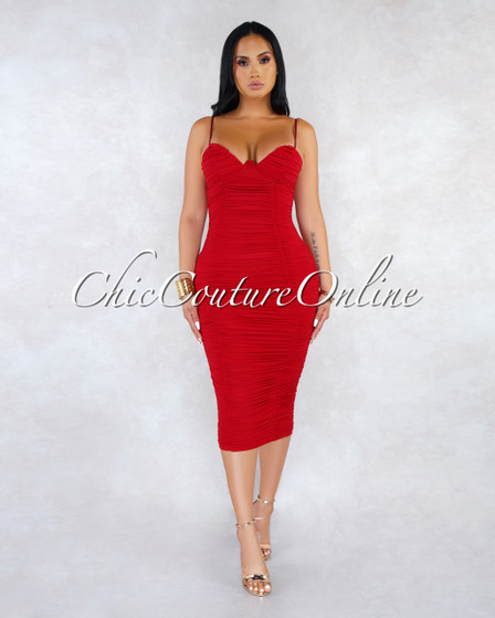 Fonda Red Mesh Ruched Padded Cups Maxi Dress