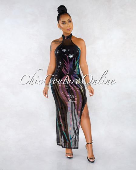Nadya Black Mesh Iridescent Sequins Bodysuit Halter Dress