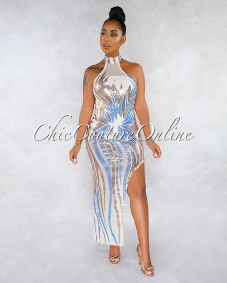 Nadya Nude Mesh Iridescent Sequins Bodysuit Halter Dress