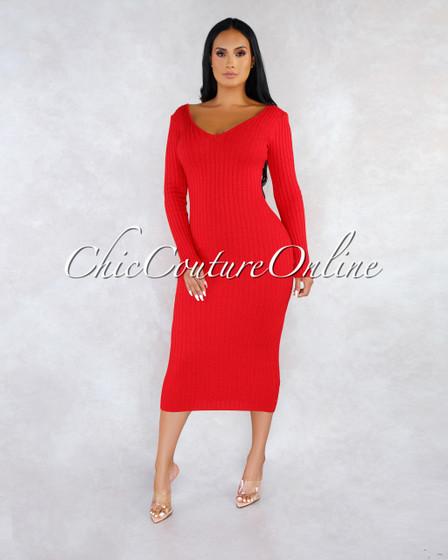 Selesta Red Shimmer Ribbed Maxi Long Sleeves Dress