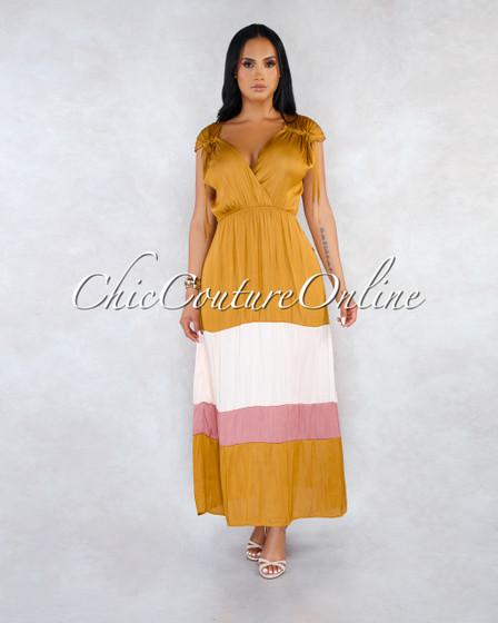 Ricarda Mustard Blush Mauve Satin Maxi Dress