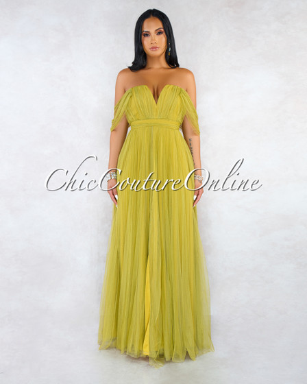 Coryn Olive Green Tulle Daring Sleeves Maxi Dress