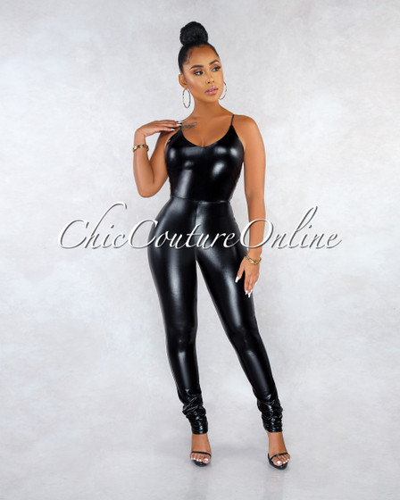 Kiki Black Faux Leather Jumpsuit