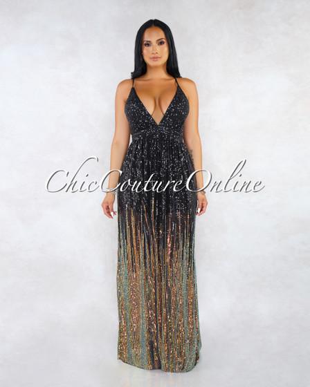 Presley Black Mesh Iridescent Sequins Maxi Halter Dress