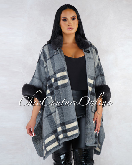 Samantha Grey Plaid Faux Fur Details Hooded Knit Poncho
