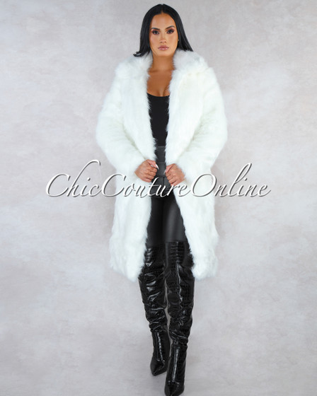 Mosaic Off-White Faux Fur Trench Maxi Coat